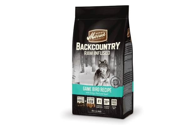 merrick game bird dog food package