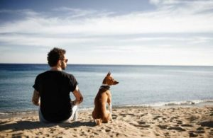 Millennial man and dog at the beach