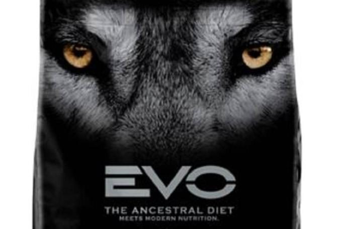 A wolf's face on front of Evo petfood packaging