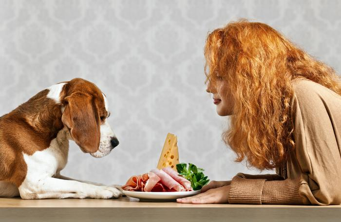Woman-dog-same-plate-food