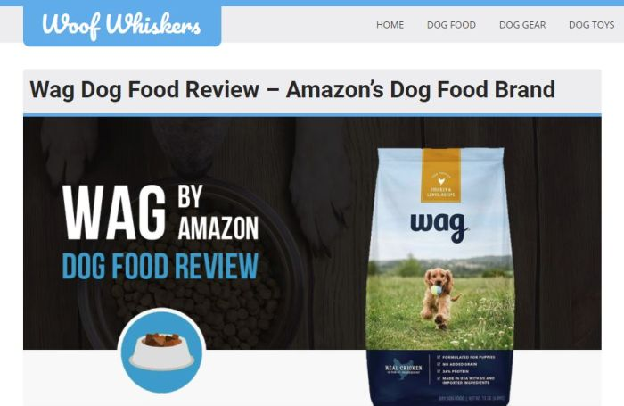 Amazon Wag dog food's nutrient content analyzed, rated