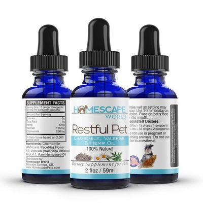 Homescape-Pets-Restful-Pet-hemp-oil,-chamomile-and-valerian-for-pets
