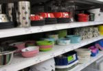 pet store shelf with bowls
