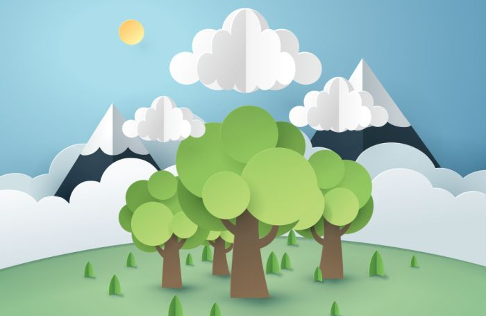Mountains trees sun sustainability concept