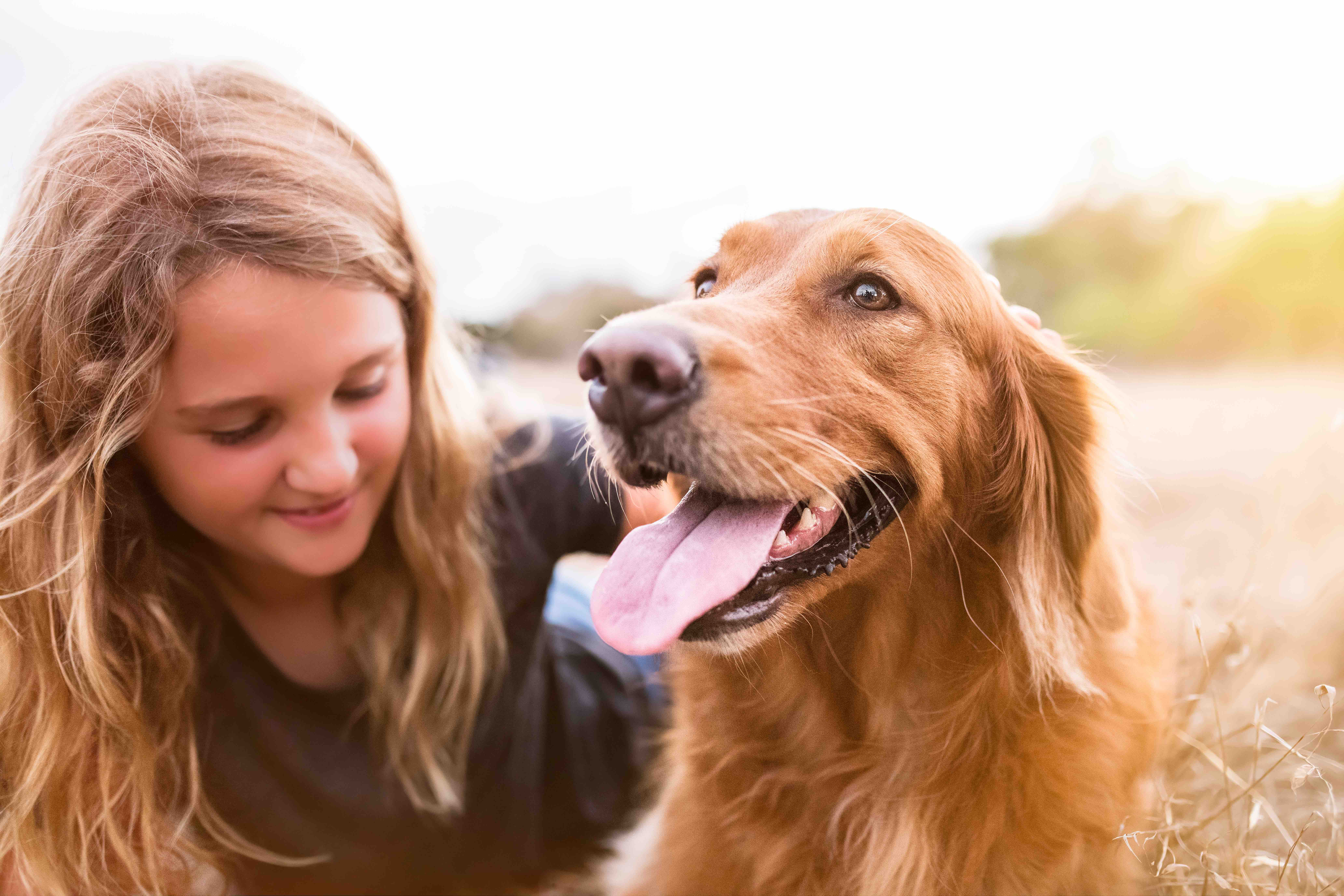 white lab with young girl